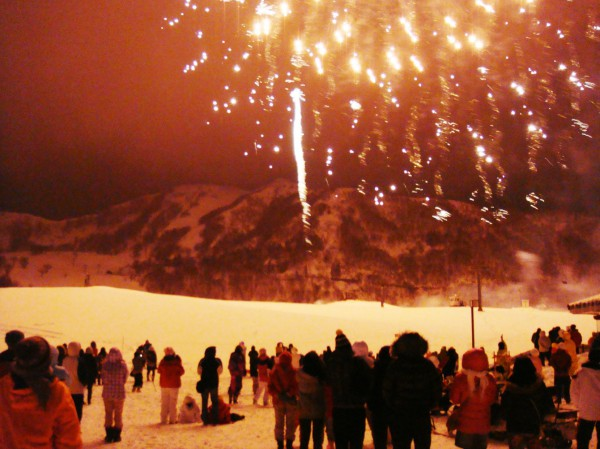 雪上の花火大会